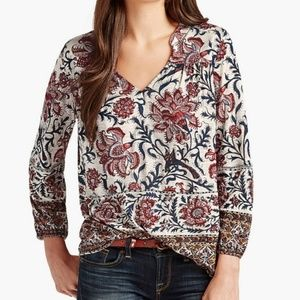 Lucky Brand Bordered Scarf Top, Sz S